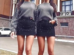 Sexy russian twins in short skirts and high heels