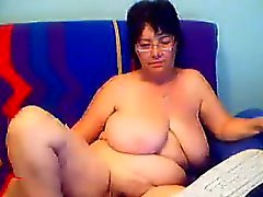 Large Granny Shows Her Hairy Pussy