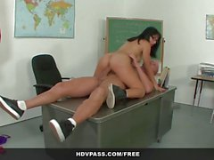 Latina Liv Aguilera sucks and fucks teacher