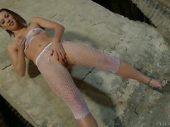 Tiffany Doll in white fishnet outfit