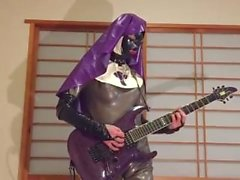gitarre, pantera, latex, nonne, ball. - knebel