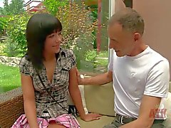 Teen brunette Anne shows Her small tits to older man