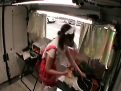 Cute Japanese babe in a food truck gets her pussy fingered
