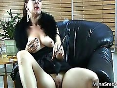 Nasty hot brunette chick with big tits