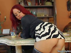 Redhead secretary Jessica Ryan gets nailed by muscled Johnny