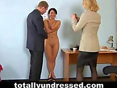 Hot secretary interviewed by kinky HR people