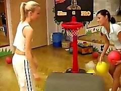 Cindy and Amber fucking each other in the gym