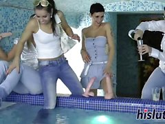 Naughty lezzies have fun in the pool