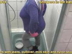 Showers in the bathroom with jeans, pullovers, mini skirt