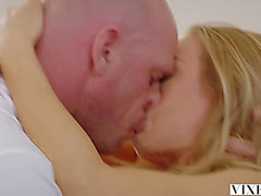Hawt blond with large milk sacks receives dominated after a massage