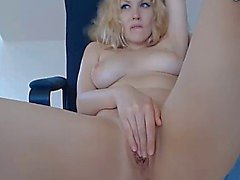 busty blonde closeup fingering