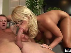 Hot blonde teacher takes a hard pecker