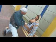 German couple is outside in the public blowing and fucking