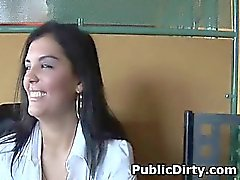 Brunette Amateur Flashing Tits At A Public Table