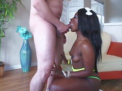 Black girl Skyler Nicole giving interracial bj
