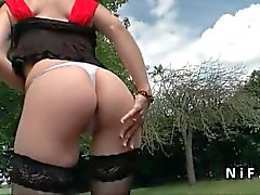 Small titted french mature anal fucked outdoor