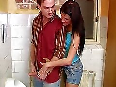 Emo teen brunette handjob Debbie banged in public toilet
