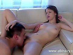 Hairy girl Beata Undine gets cum all over her bush