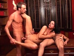 Smoking hot babe fucks with two friends