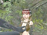 3D babe getting fucked by a monster in the woods