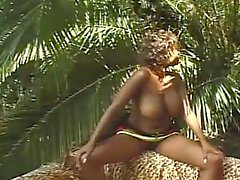 Chocolate skinned monster tits ebony riding massive white boner