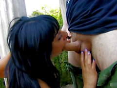 Hot interracial group sex with horny latina brunette outdoor