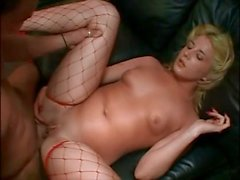 Hot blonde in fishnets does ATM and swallow cum