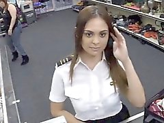 Hot stewardess fucked by the pawn man in the toilet room