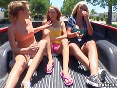 Stephanie Cane Bridgette and Katie Summers have fun outdoor