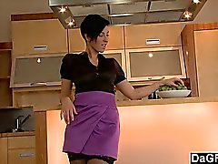 Perfect Babe Strips And Masturbates In The Kitchen