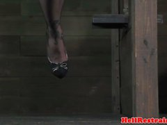 Bound bdsm sub dominated with the whipp