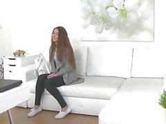 FakeAgent Shy Russian gives blowjob and gets fucked on casting couch