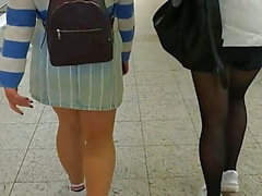 Thick legs in pantyhose walking 1