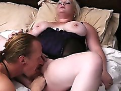 Blonde chubby gf enjoys his meat