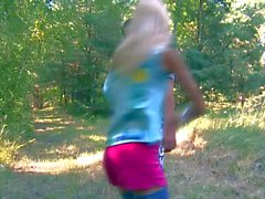Skinny small tit blonde Loly sucking outdoors