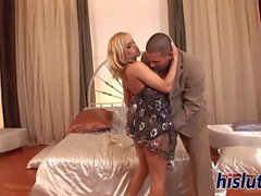 Sexy blonde with big naturals gets nailed