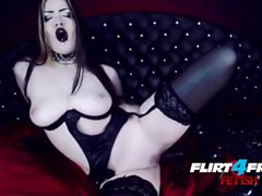Goth Goddess Fucks Herself in Latex
