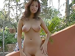 beauté, brunette, corné, masturbation, de plein air