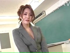 Asian teacher shows her hairy pussy
