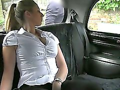 Off duty police woman fucks in taxi