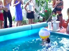 Sexy party babes gets nailed at poolside