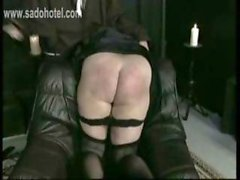 Naughty screaming nun got spanked very hard on her nice big butt by old priest