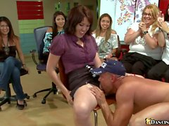 Lucky stripper gets sucked off at CFNM party