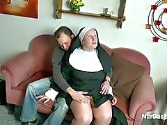 German Young Boy seduce Granny Nun to Fuck