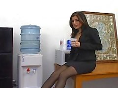 Sativa Rose office sex in pantyhose
