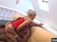 Irresistible girl pleases a black pecker