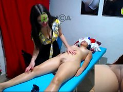 Real amateur lesbian massage turns into rimjob and fingering