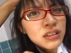 Kinky Oriental schoolgirl with glasses has a passion for pi
