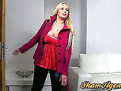 Blonde amateur milf with humongus tits fucked and oiled up!