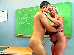 short haired old blonde teacher gets boned in classroom
